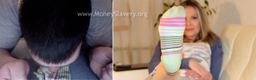 a slave sniffing socks worn by a Goddess